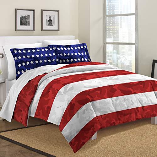 (Destinations Stars and Stripes Camo Twin Comforter Set, Orange-Red)