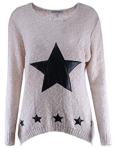 Star PU Leather Patches Knit Sweater Beige S/M Size