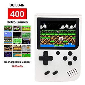 Kids Handheld Retro FC Games Consoles with 400 Classical NES Games,Super Mario Included,3 Inch 1000MAH Rechargeable Battery TV Output Gameboy Birthday for Boys Girls Men Women(White)