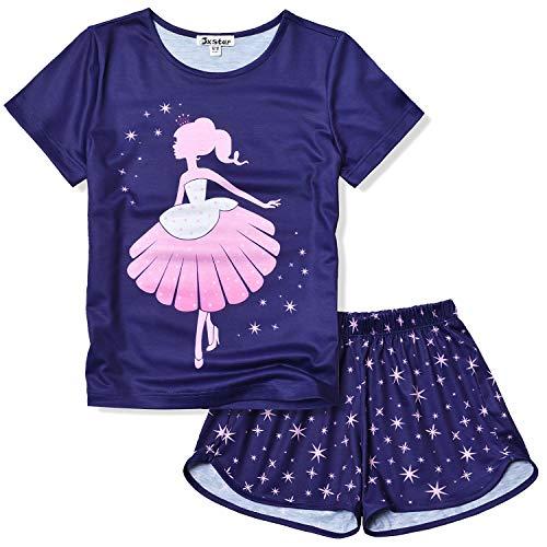 Jxstar Princess Girls Pjs Pajama Sets Short Sleeve Summer Cotton Sleepwear Size 6 7]()