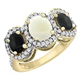 10K Yellow Gold Natural Opal & Black Onyx 3-Stone Ring Oval Diamond Accent, sizes 5 - 10