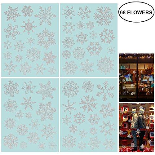 NICEXMAS 68 Glitter Snowflake Window Clings Christmas Window Decorations - Glueless PVC Stickers for $<!--$9.49-->