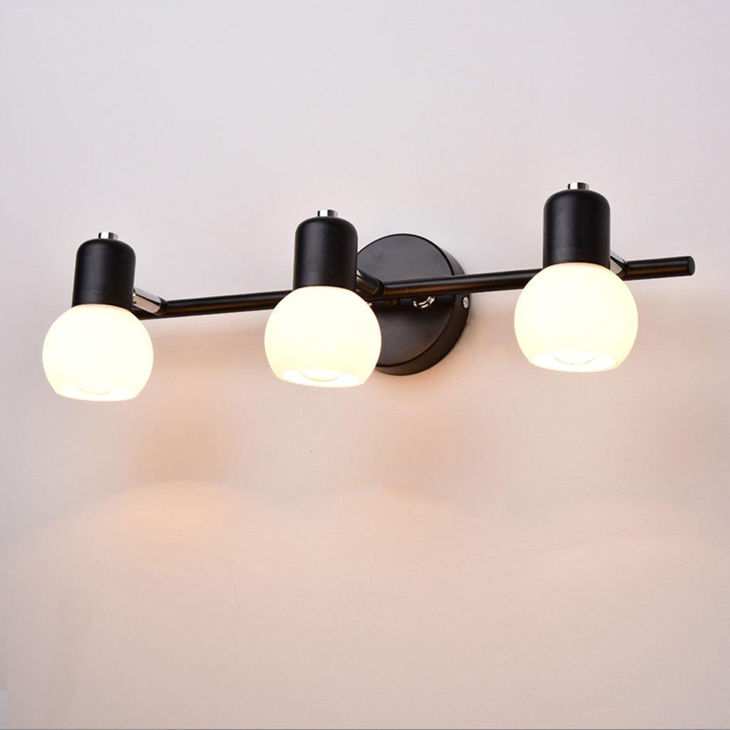 ZDD Retro Schmiedeeisen Wand Lampe LED Spiegel Lampe Schlafzimmer Schreibtisch Badezimmer Lampe (Farbe : SCHWARZ-D46cm*H13cm)