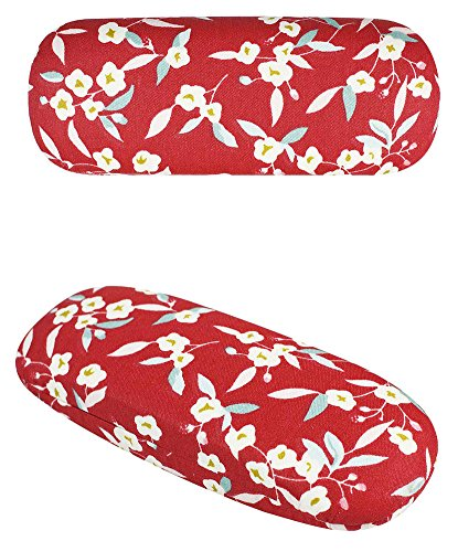 JAVOedge Red Flowers Pattern Eyeglass / Reading Glass Hard Case