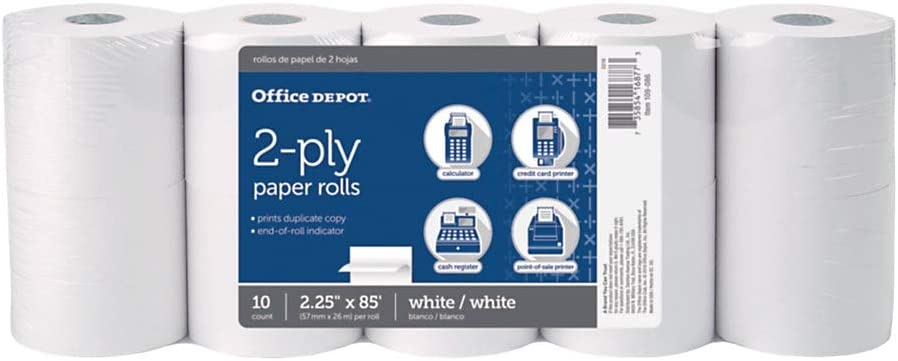 Office Depot 2-Ply Paper Rolls, 2 1/4in. x 85ft, White, Pack of 10, 109086