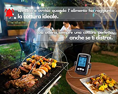 Termómetro Cocina Profesional, Termometro de Horno Doble Sonda de 16,5 cm, Impermeable, Temperatura Carne, Pescado, Aceite