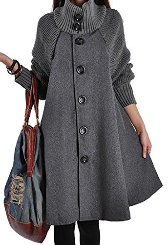 ARRIVE GUIDE Womens Casual Wool Blend Single-Breasted Swing Pea Coats Gray (Blend Swing Coat)
