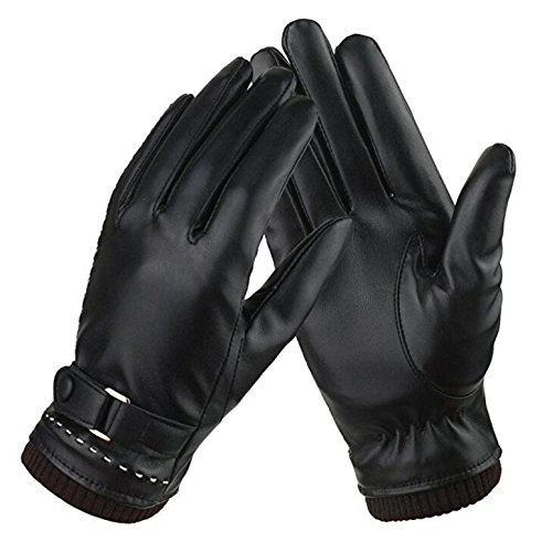 Iuway Womens Touchscreen Texting Gloves Fleece Lind Driving Winter Warm Leather Gloves (Black), One Size Fits Most - Black Leather Riding Gloves