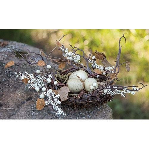 Heart of America Twig & Berry Nest with Eggs 12''