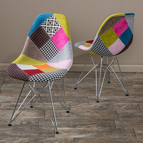 Cassius Eames Style Mid Century Modern Multi-Color Patchwork Fabric Chairs (Set of 2)