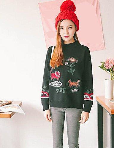 BaiChunYunYi Damen Standard Pullover-Lässig Alltäglich Einfach Solide Druck Rundhalsausschnitt Langarm Kaninchen-Pelz Leinen Herbst Mittel