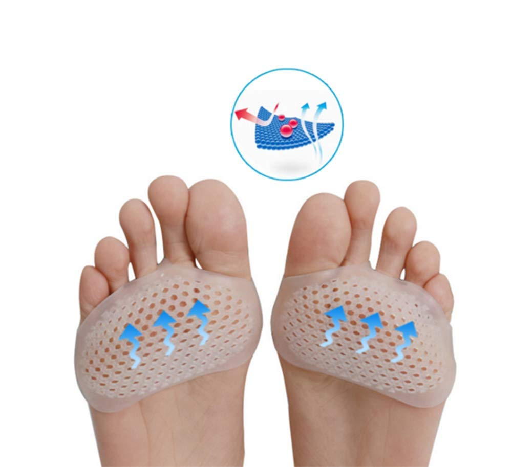 Metatarsal Pads Ball of Foot Cushions, Toe Separators, Breathable Foot Pain Relief Cushions Hammer Straighten Bunion Pain Foot(4 Pairs)