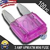 100 Pack 3 AMP APM/ATM 32V Mini Blade Style Fuses 3A Short Circuit Protection Car Fuse