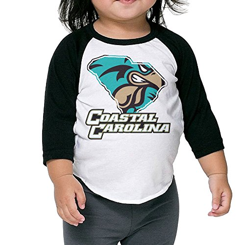 ElishaJ Kid's Raglan Tee Baseball Shirt Coastal Carolina University Black Size 4 Toddler