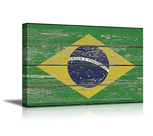 Flag of Brazil on Vintage Wood Board Background Stretched