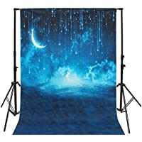 Mohoo 5x7ft Silk Photography Background Blue Sky Moon Glitter Star Pattern Photo Backdrop Studio Props