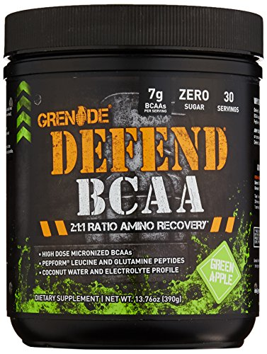 Grenade Defend BCAA & Amino Post Workout Recovery, Added Pepform Leucine and Coconut Water for Muscle Building and Optimal Hydration, Green Apple, 390G