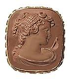 Cameo Brooch, Pendant Enhancer, Goddess Diana, Genuine Natural Lava Stone Italian Master-Carved,