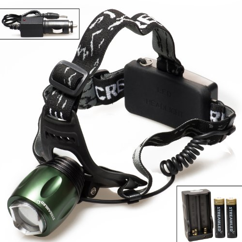 STREAMLED 800 Lumen Zoomable CREE XM-L T6 LED Headlamp(Green Head) + Charger + 18650 Battery