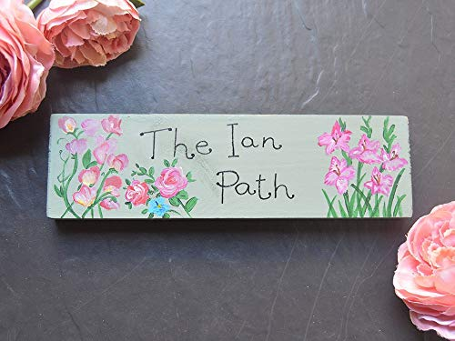 alised Wooden Sign Custom Fairy Garden Name Plaque Sweet Peas Roses English Cottage Garden Gladiolus Gift ()
