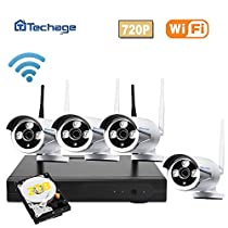 Techage Wifi Security System/ Wireless CCTV System Outdoor/ Indoor, 4CH 720P 1.0MP Waterproof IP Camera, 65ft Night Vision, Plug & Play, Home Security Surveillance Kits With 2tb HDD