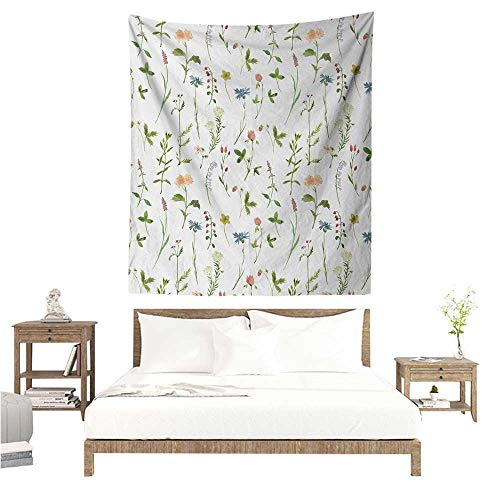Wall Tapestry Floral Spring Season Themed Watercolors Painting of Herbs Flowers Botanical Garden Artwork 57W x 74L INCH Suitable for Bedroom Living Room Dormitory