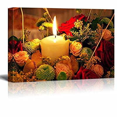 Canvas Prints Wall Art - Candle and Flowers | Modern Wall Decor/Home Art Stretched Gallery Canvas Wraps Giclee Print & Ready to Hang - 24