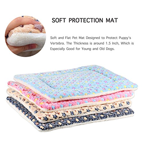 Mora Pets Ultra Soft Pet (Dog/Cat) Bed Mat Cute Prints | Reversible Fleece Dog Crate Kennel Pad | Machine Washable Pet Bed Liner (24-inch, Pink) by Mora Pets (Image #2)