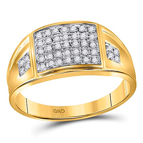 - Dazzlingrock Collection 10kt Yellow Gold Mens Round Prong-set Diamond Square Cluster Ring 1/4 Cttw