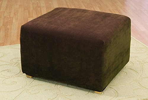 Sure Fit SF45542 Stretch Pique Oversized Ottoman Slipcover, Chocolate - Chocolate Leather Bed