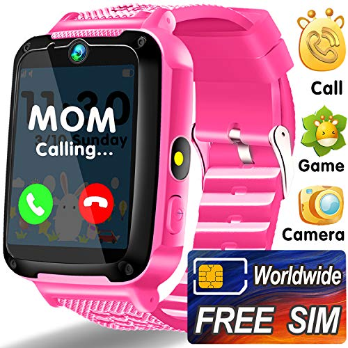 Kids Smart Watch Phone with Worldwide SIM Card - Game Wrist Watch for Boys Girls - Kids Smartwatch 12/24H Dual Timer Camera Torch Alarm SOS Walkie-Talkie - Learning Toys Holiday Birthday Gifts - Pink (Wristwatch Two Way Radio)