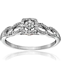10k White Gold with Pink Diamond Engagement Ring (1/5cttw, I-J Color, I2-I3 Clarity), Size 7