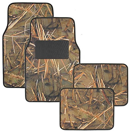 Muddy Water Camo Floor Mats - Water Resistant Vinyl Rubberized Backing 4pc Front & Rear Set - Swamp Camouflage