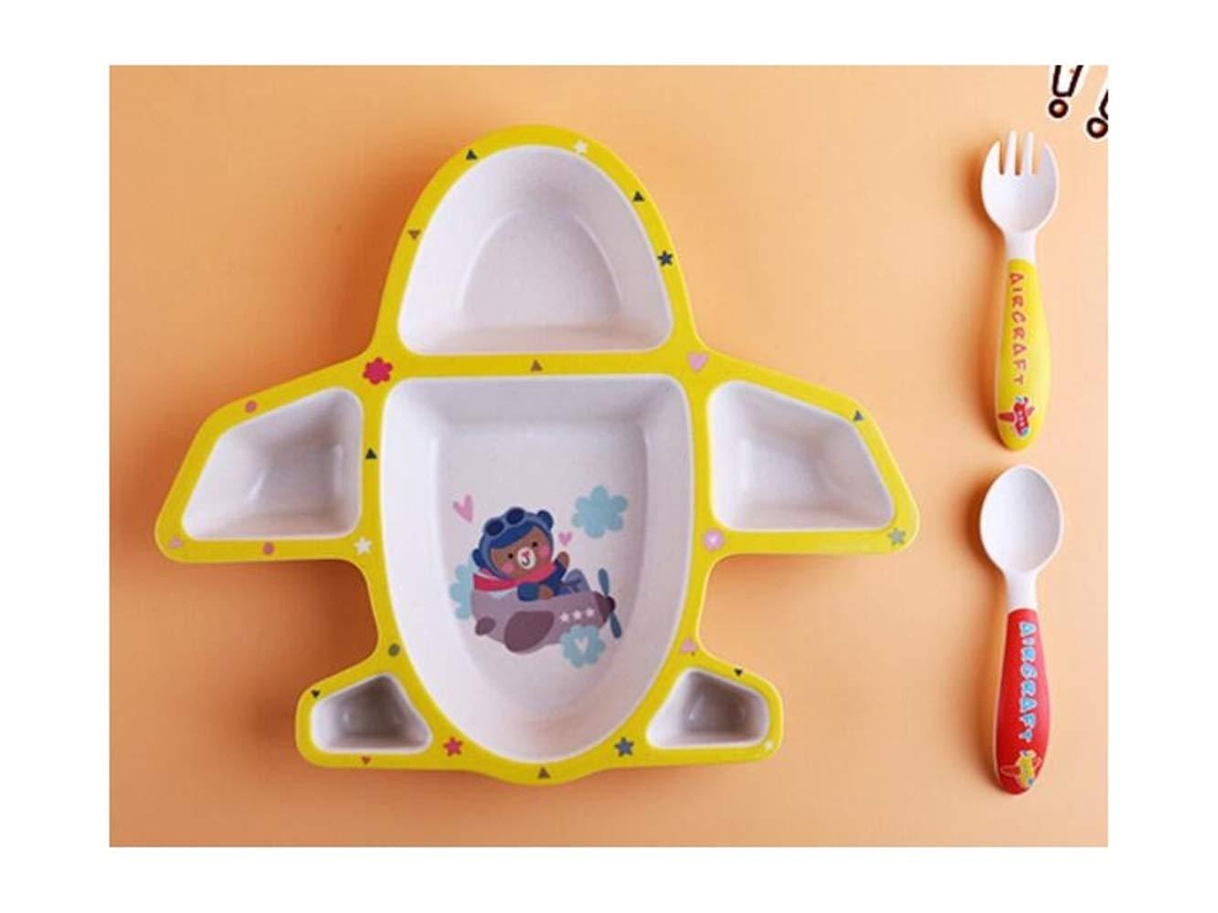 FERFERFERWON Baby Tischset Bambus Fiber Aircraft Shape Dish Kinder Teller Gabel Löffel Cup Set für Kinder Kleinkind Kinder