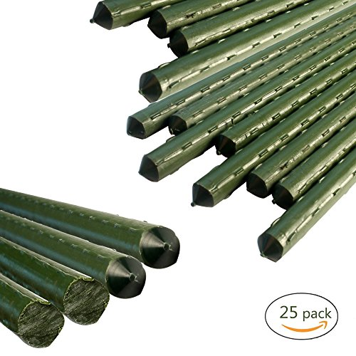 YIDIE Sturdy Metal Garden Stakes 3 Ft Plastic Coated Plant Sticks,Pack of 25