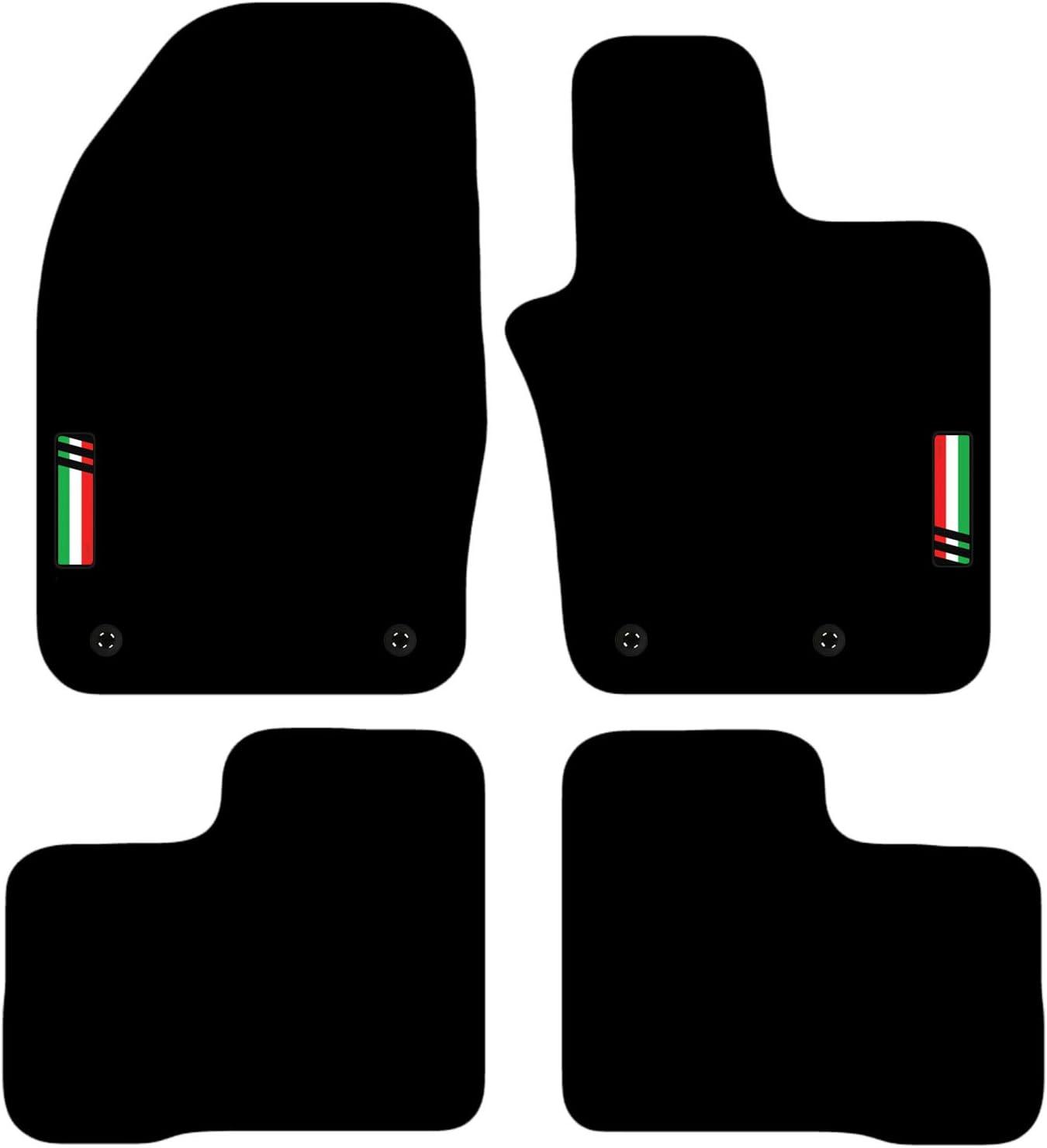 85 x 4 Color Negro Alfombrillas a Medida para Coche con Logotipo de 4 Clips para Adaptarse Carsio L138-CARP-CUT-3561- Fiat 500 x 2014 en adelante