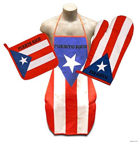 Puerto Rico Kitchen & BBQ Set *New* w/ Puerto Rican Apron, Oven-mitt & Pot-holder