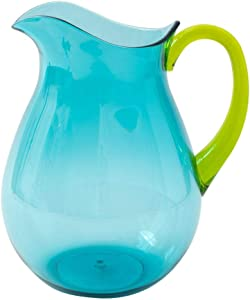 Caspari Acrylic Pitcher in Turquoise with Green Handle - 1 Each
