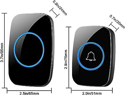 LED Smart Doorbell Waterproof 300M Remote Mini Wireless Door Bell 38 Chimes 20-85dB Door Ring Doorbell Timbre ZHQHYQHHX Color : 1 to 1