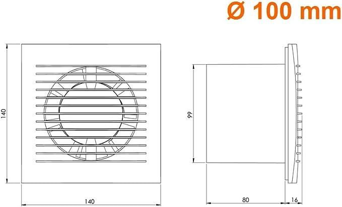 Pared Ventilador Canalizado Cable Interruptor Ventilador Cocina inodoro ba/ño Di/ámetro 100/Mm ee100wp