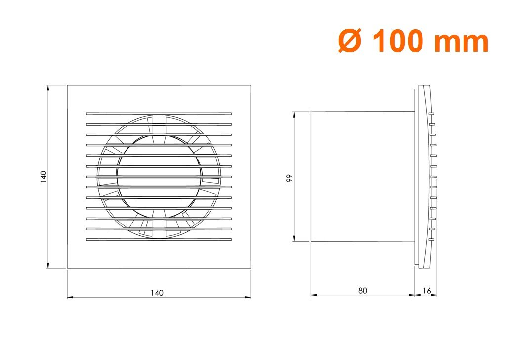 Wandventilator L/üfter Abluft Kabel Schalter Ventilator K/üche WC Bad /Ø 100 mm ee100wp