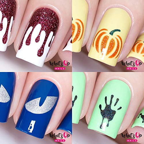 Halloween Nail Vinyl Stencils 4 pack (Pumpkin, Bloody Hands, Slime Drips, Cat Eyes) for Nail Art Design -