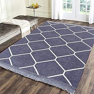 Zesture Premium Flat Weaved Multipurpose Living Room Bedroom Temple Kitchen Area Rug and Carpet(Grey)