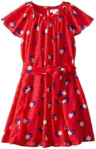 Pumpkin Patch Big Girls' Plaited Neck Chiffon Dress, Mars Red, 8