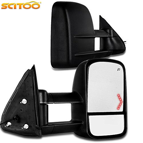 SCITOO Tow Mirrors fit Chevrolet GMC 2003-2007 Chevy Chevrolet GMC Silverado Sierra (07 Classic) LED Arrow Signal Amber Turn Signal Power Controlling Heated Side Mirror Rear View Mirror ()