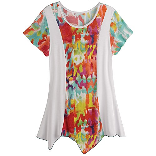 Women's Tunic Top - Mardi Gras Tie-Dye Short Sleeve Shirt - 1X (Mardi Gras Fashion)