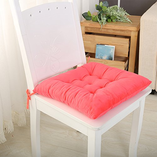 Set Of 4 Seat Chair Pads And Cushions With Ties On Down Backs Non Slip - Ultra Soft Breathable Insert Washable With Zippers Slipcover, Seat Cushion For Kitchen, Office, Dining, Patio, Dorm, Chair Grip (Red Chair Rustic Kids Outdoor)