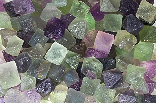 Fantasia Materials: 1/4 lb Natural Unpolished Rainbow Fluorite Octahedron Crystals from China -Medium Size- Raw Natural Crystals for Cabbing, Cutting, Tumbling, Polishing, Wire Wrapping, Wicca & Reiki