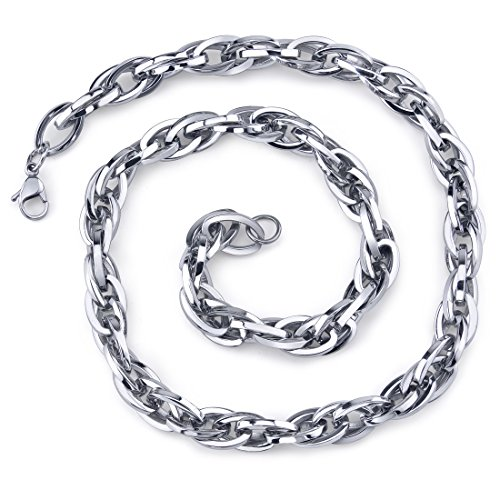 (Peora Dangerous Elegance: Unisex Stainless Interlocked Oval Link 20 Inch Chain Necklace)