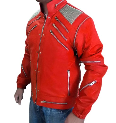[MJ red beat it Halloween costume for men (S)] (Mj Thriller Halloween Costume)